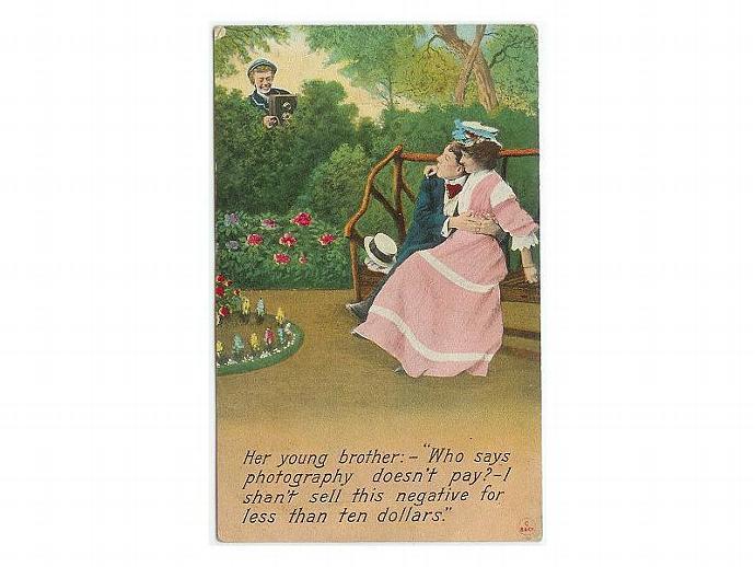 Vintage 1910s  Romance Romantic Postcard Couple Brother Camera Bamforth