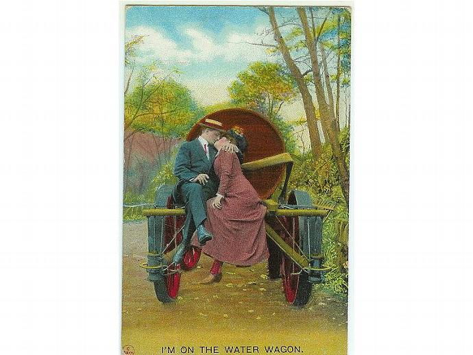Vintage 1910s Romantic Romance Postcard Couple on Water Wagon Bamforth Kissing