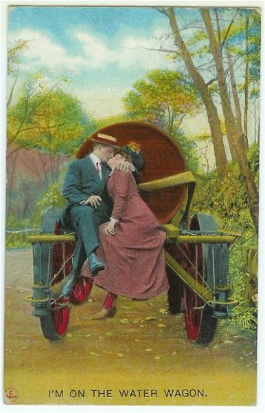 Vintage 1910s Romantic Romance Postcard Couple on Water Wagon Bamforth Kissing