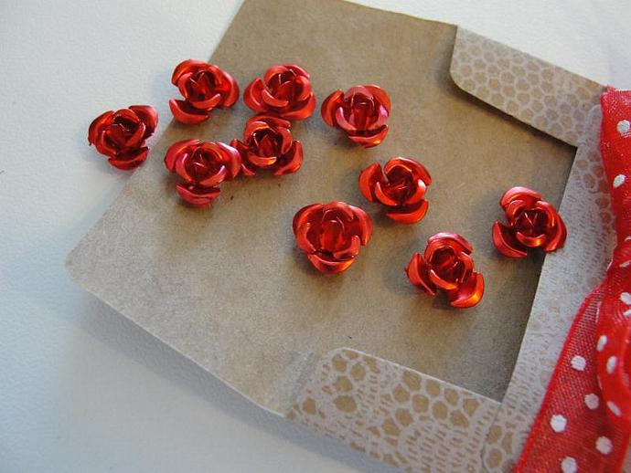 Red Rose Aluminum Flowers in Vintage Envelope