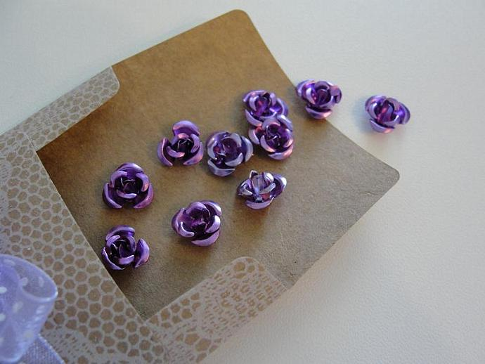 Purple Rose Aluminum Flowers in Vintage Envelope