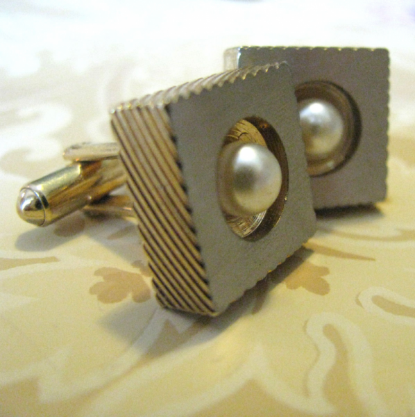 Golden Pearl Cuff Links 1970 Vintage Hickok Fashion Jewelry Accessories For Him,