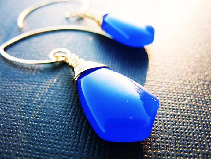 Huge Cobalt Blue, Smooth Chalcedony Briolettes, Wire Wrapped in Gold Fill, Hand