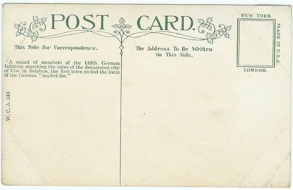Vintage Underwood WWI Military Postcard Germans Searching Ruins City of Vise