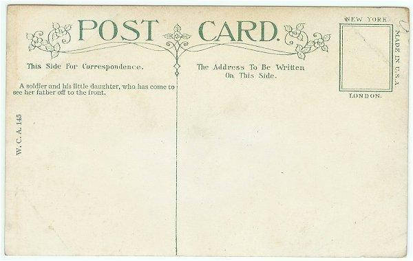 Vintage WWI Underwood Military Postcard Soldier with Baby Girl Card 44