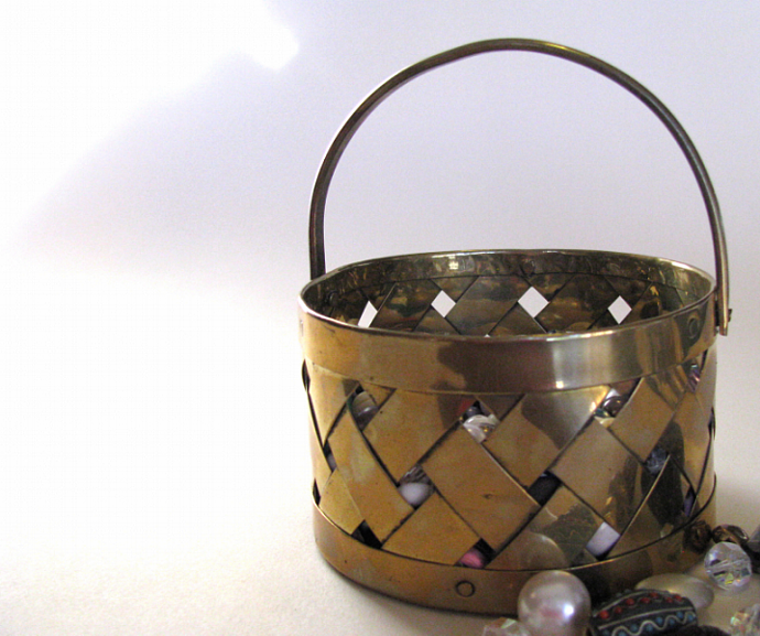 Woven Brass Trinket Organizing Vintage Basket