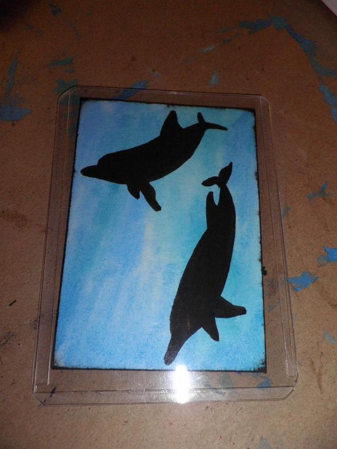 Original ACEO Watercolor Painting, Underwater Dolphins Silhouette