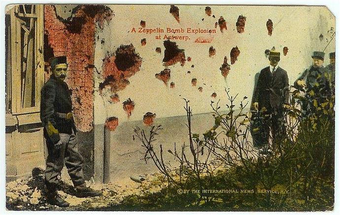 Vintage WWI W.C.A. Military Postcard Zeppelin Bomb Explosion Antwerp