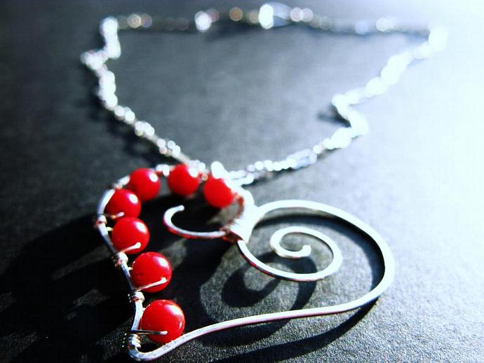 Bamboo Coral & Sterling Silver Heart Necklace, Wire Wrapped Gemstones,