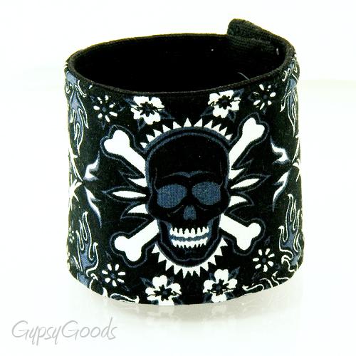 Skull & Barbed wire... Fabric Wrist CUFF