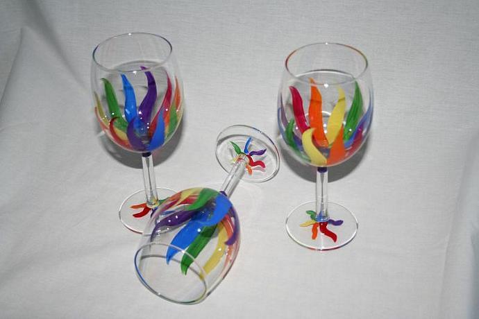 rainbow streamers wineglass hand painted set of 4