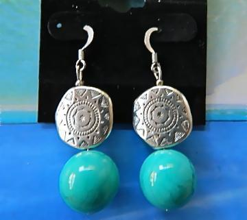 Turquoise  and   designed  metal  beads  earrings