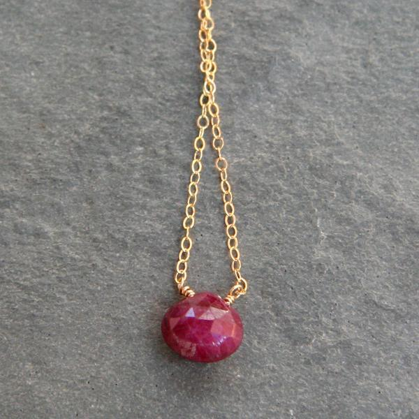 Ruby & Gold Simplicity Necklace