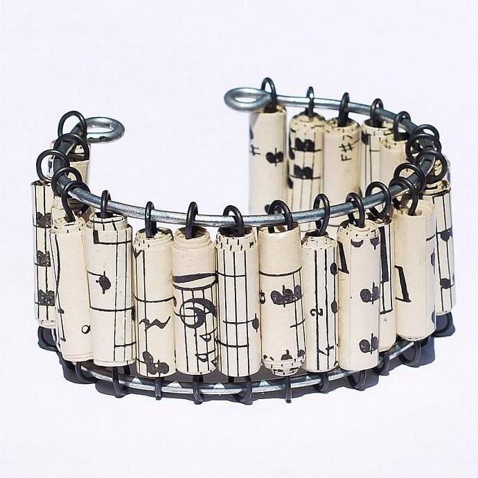 Paper Bead Jewelry- Vintage Sheet Music Bracelet