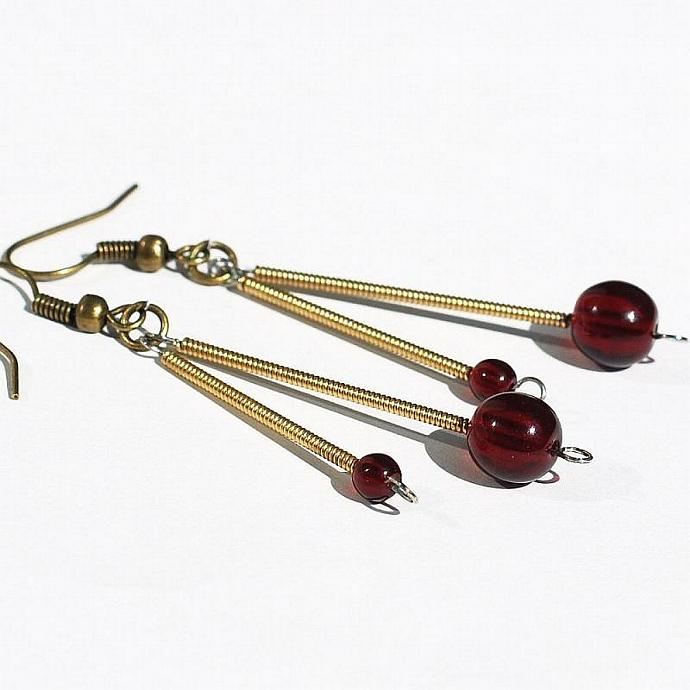 Guitar String Jewelry- Upcycled Garnet Red Brass Drop Earrings