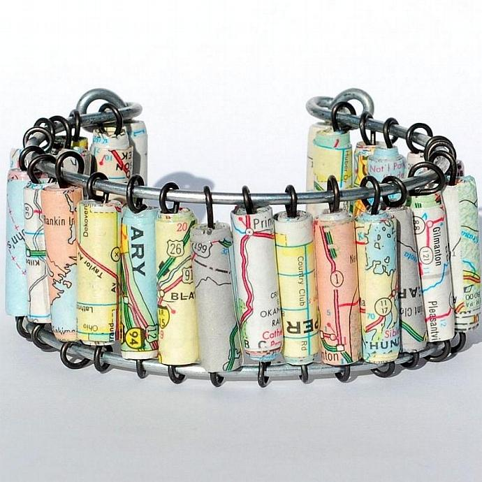 Paper Bead Jewelry- Upcycled U.S. Map Cuff Bracelet