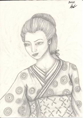 Skeptical Geisha, original, small sketch