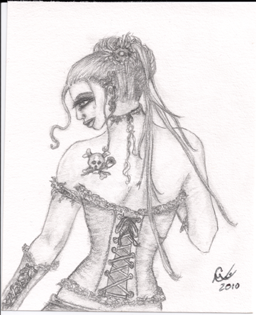 Gothic Miss, small original drawing
