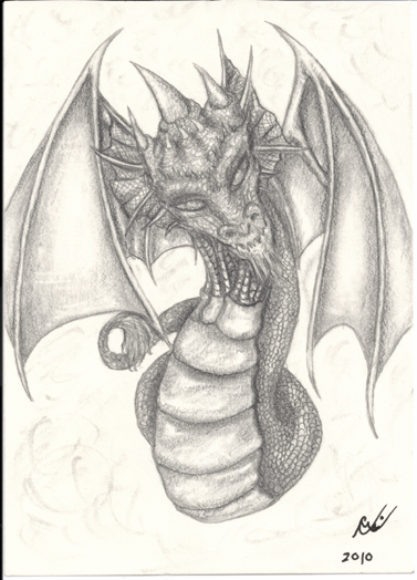 Serpentine Dragon Sketch, original