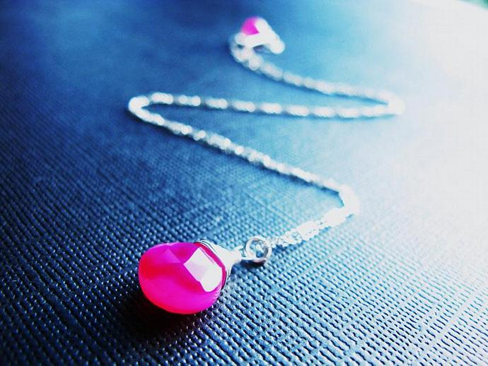 All Proceeds to The Pink Ribbon Foundation, Hot Pink Chalcedony Necklace, in