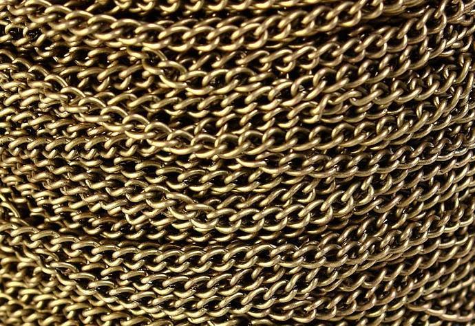 3.7mm x 2.5mm antique brass antique bronze twist chain - 10 feet (548)