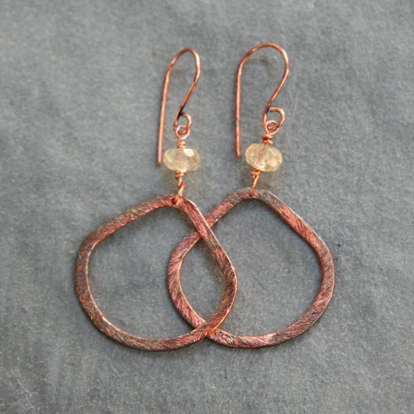 Copper Hoop Drops and Citrine Earrings