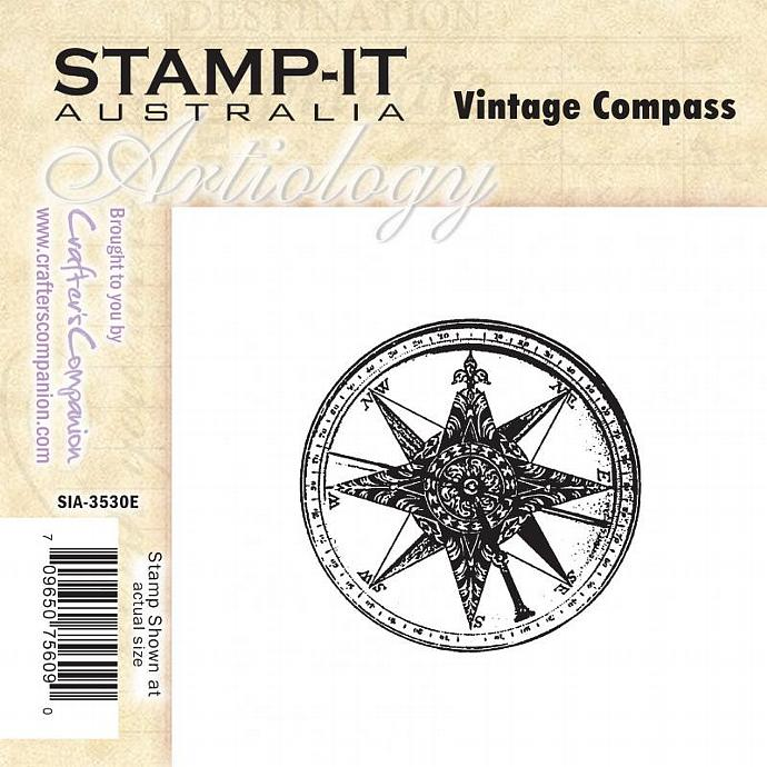 Vintage Compass steampunk rubber stamp shabby chic steampunk