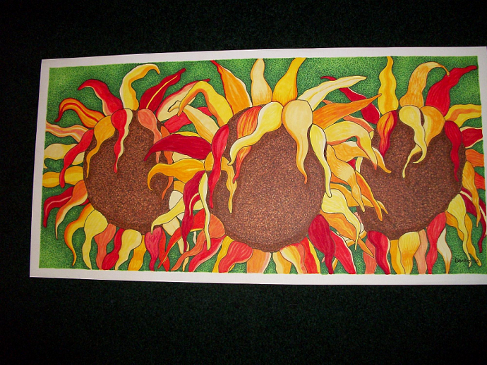 Wilting Sunflowers-print