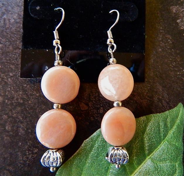Peach  aventurine    dangle  earrings