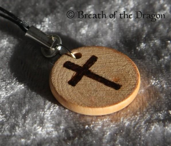 Small wooden charm ~ Jesus Fish and Cross