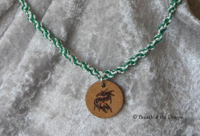 Dragon charm on hemp choker
