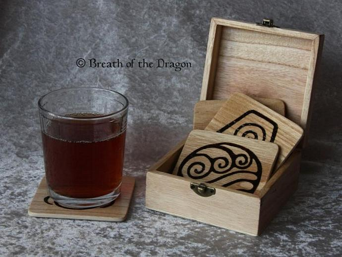 Elemental Wooden Coaster Set w/ Pentacle Box