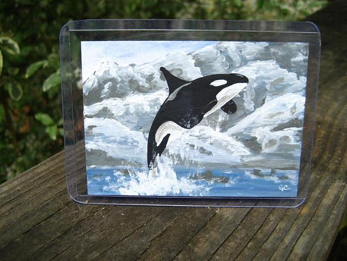 Original ACEO Acrylic Painting, Orca killer whale the view