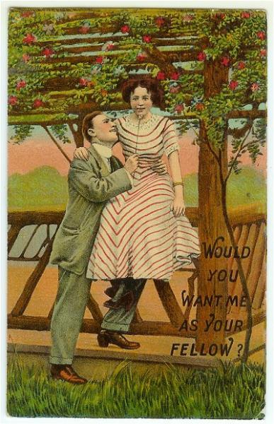 Vintage Romance Postcard Would You Want Me As Your Fellow Winsch Back