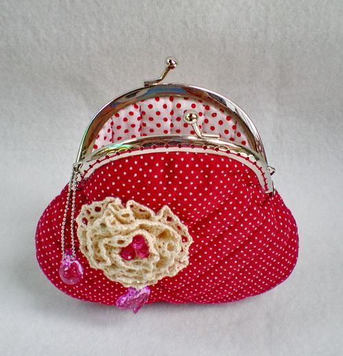 Beautiful Flower And Quilted Red Purse