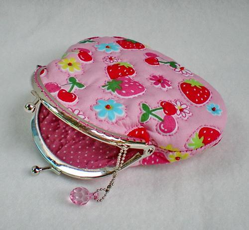 Lovely Strawberry And Cherry Quilted Purse