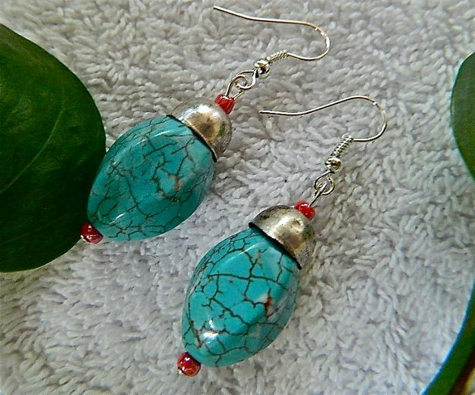 Turquoise  seed  beads  and    bead  caps  earrings