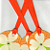 Orange Tags with White Flowers Set of 3