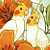 Lutino Cockatiels and Day Lilies Art Print 8.5x11