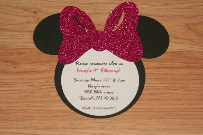 Handmade Minnie Mouse Invitations With By Angiesdesignz On Zibbet