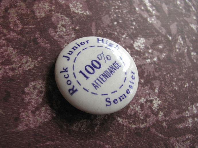 Attendance Award Button 1930 Antique Rock Junior High School East St Louis