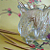 Footed Glass Toothpick Holder or Small Violet Blossom Vase Vintage Glassware
