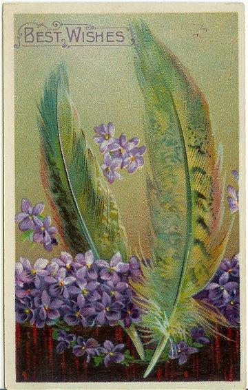 Vintage Postcard Victorian Feathers Purple Violets 1910s Best Wishes