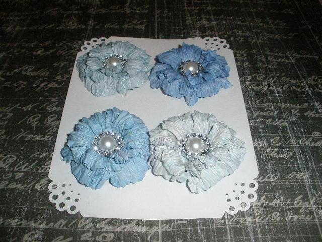 Dark Blue Sweet Sugar Blossoms-Handmade Paper Flowers