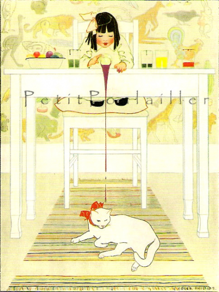 Priscilla's Clean White Coat 1981 Vintage Coles Phillips Storybook Lithographs