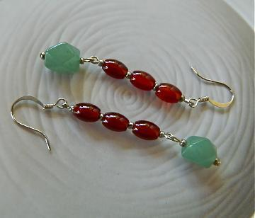 Young  jade and  red  beads  dangle  earrings