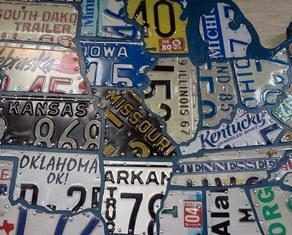 USA Recycled License Plate Map