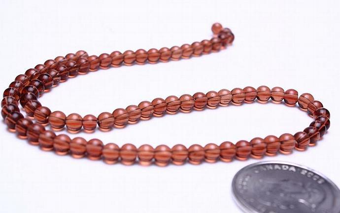 Brown 4mm round druk glass beads strand (580)