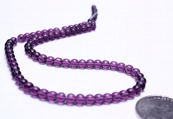 Violet mauve purple 4mm round druk glass beads strand (579)