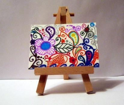 colorful sharpie ACEO - whimsical  floral art card - water landscape fish